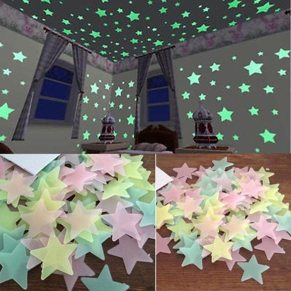 decoration, beautifulwallsticker, glowingstar, bedroom