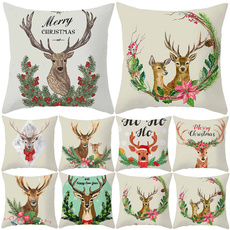christmaspillowcase, pillowcasehome, sofacushioncover, Deer
