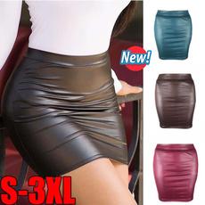 black skirt, Shorts, high waist, leather