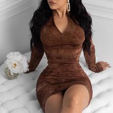 Plus Size, pleated dress, women dresses, Long Sleeve
