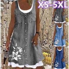 denim dress, Summer, Plus Size, Necks
