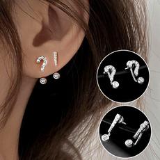 Sterling, White Gold Earrings, Simple, whitesapphireearring