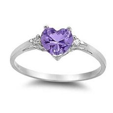 Sterling, Heart, crystal ring, zirconring