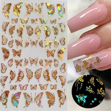 butterfly, golden, nail decals, Holographic