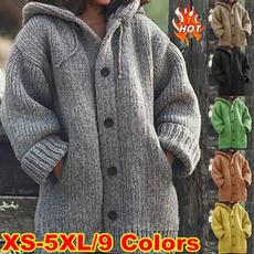 hooded sweater, Winter Coat Women, knitted, Ladies