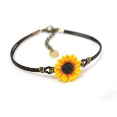 motherjewelry, Charm Bracelet, monogramcharm, sunflowerbracelet