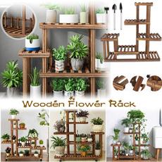 Plants, Flowers, woodenflowerstand, Garden