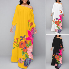party, dressesforwomen, Floral print, off shoulder dress