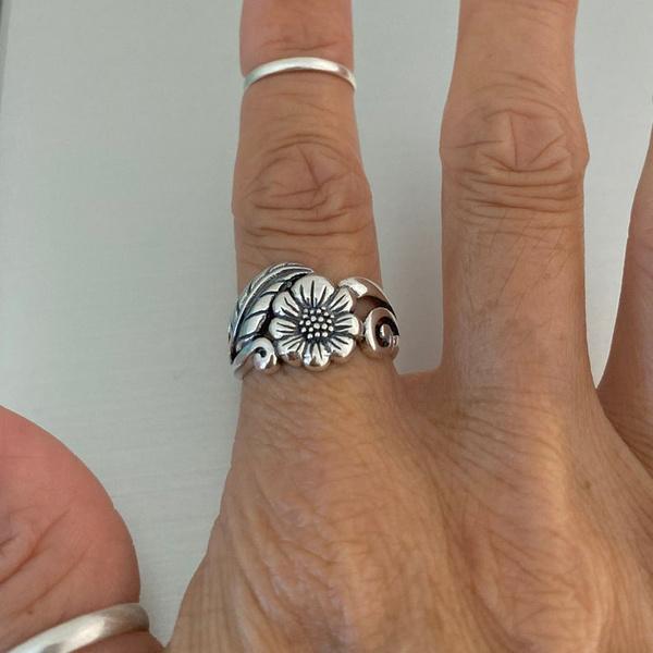 Sterling, Flowers, leaf, wedding ring