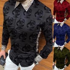 Fashion, Long Sleeve, print shirt, slim