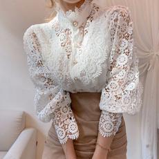 Fashion, Lace, Hollow-out, femmeblouse