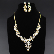 bridalnecklace, pearlset, Rhinestone, pearlnecklacegift