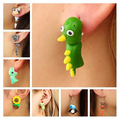 cute, animalearring, Stud Earring, femaleearring