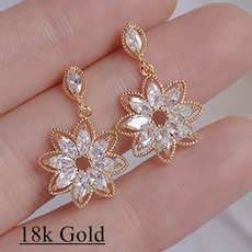 925 sterling silver, Shiny, gold, Exquisite Earrings