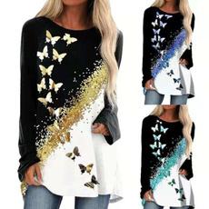 butterflyprint, butterfly, Plus Size, long sleeve t shirt