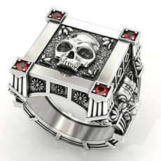 Vintage, Goth, crystal ring, 925 silver rings