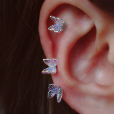 helixcartilage, butterfly, rainbow, Jewelry