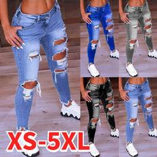 elastic waist, Waist, Long pants, Women jeans