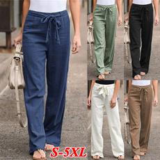 Women Pants, Summer, elastic waist, wideleg