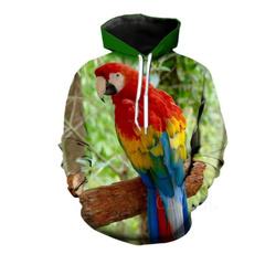 3D hoodies, Fashion, Hoodies, Parrot