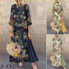 Plus Size, Floral print, 34sleeve, Sleeve