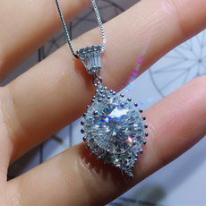 White Gold, crystal pendant, DIAMOND, 925 sterling silver