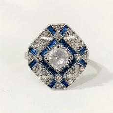Fashion, wedding ring, 925 silver rings, bluering
