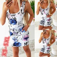 Summer, Vest, Plus Size, print dress