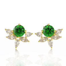 925 sterling silver, Gemstone Earrings, gold, Stud Earring