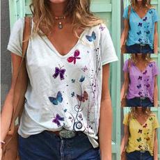 blouse, butterfly, Plus Size, Cotton Shirt
