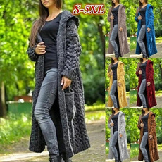 Plus Size, sweater coat, Long Sleeve, knitted