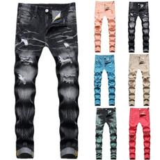 Blues, jeansformen, mens Trousers, Colorful