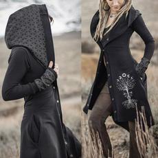 costumesforwomen, Fashion, hooded, Long Coat