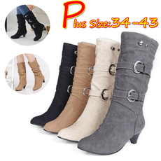 midcalfboot, Leather Boots, Winter, Buckles