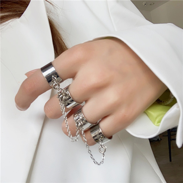 crystal ring, Women Ring, Chain, punk