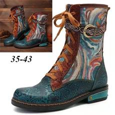 Lace, flatheelboot, Ankle, Women's Fashion