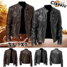 Коричневий, bikerjacket, Plus Size, Long Sleeve