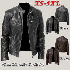 brown, bikerjacket, Plus Size, Long Sleeve