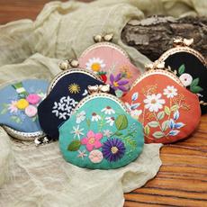 diyembroiderycionpurse, handmadecionpurse, Flowers, kisslockcoinpurse