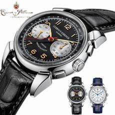 leather strap, bridgeport, wristwatch, Men