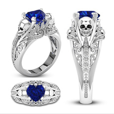 Sterling, Heart, crystal ring, wedding ring