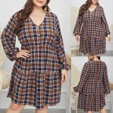 buttondres, Plus Size, Long Sleeve, plus size dress