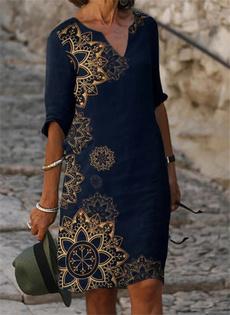 Summer, short sleeve dress, Geometry, plus size dress