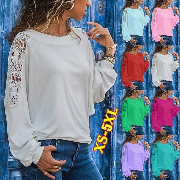 blouse, Tees & T-Shirts, Lace, Hollow-out