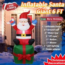 christmasinflatablesantaclau, christmasinflatablesantafishing, lights, Outdoor