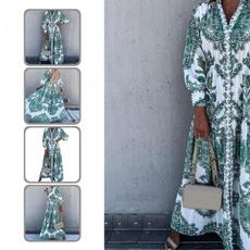 ethnicprintdres, long sleeve dress, Dress, neck dress