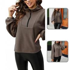 loosetracksuit, standcollarsweatshirt, halfzippersweatshirt, autumn coat