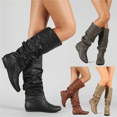 Flats, Outdoor, kneehighshoe, winter fashion