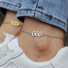 Fashion, Anklets, gold, numbering