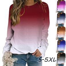 Plus Size, Tops & Blouses, Winter, roundnecktshirt